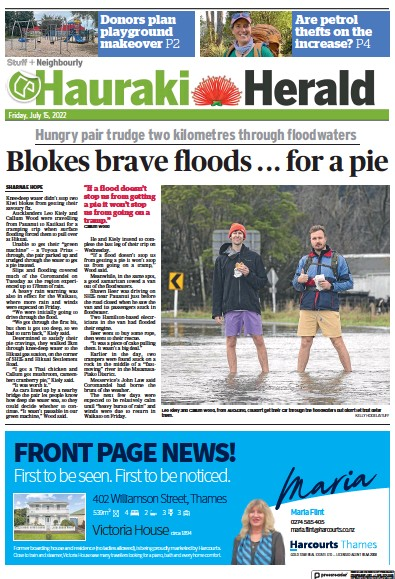 Front page of Hauraki Herald newspaper from New Zealand