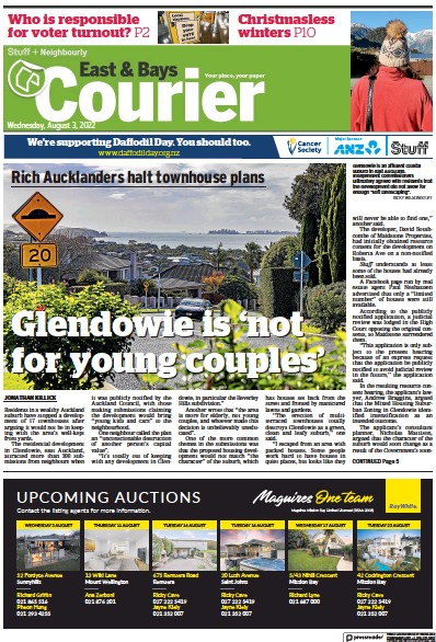 Front page of East and Bays Courier newspaper from New Zealand