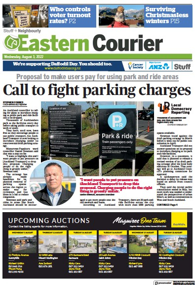Front page of Eastern Courier newspaper from New Zealand