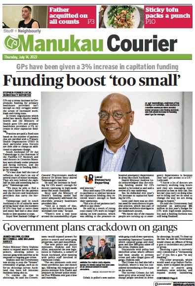Front page of Manukau Courier newspaper from New Zealand