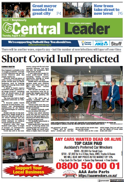 Front page of Central Leader newspaper from New Zealand