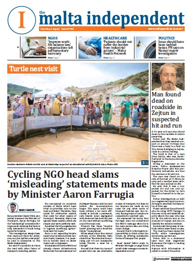 Front page of Malta Independent newspaper from Malta