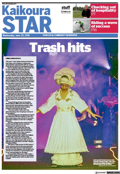 Front page of Kaikoura Star newspaper from New Zealand