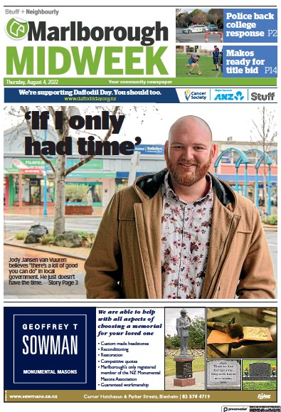 Front page of Marlborough Midweek newspaper from New Zealand