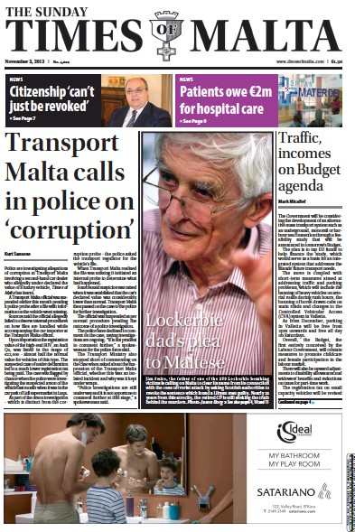 Front page of The Sunday Times of Malta newspaper from Malta