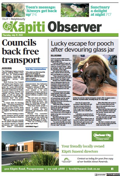 Front page of Kapiti Observer newspaper from New Zealand