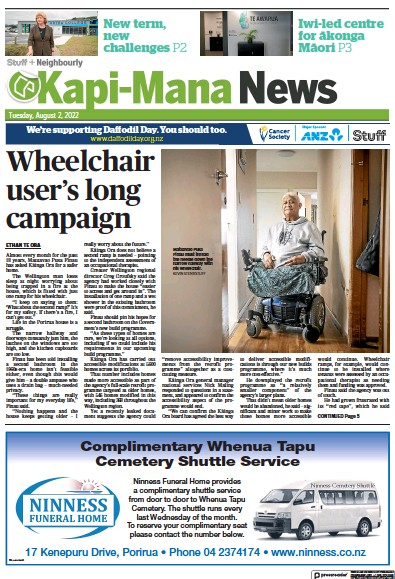 Front page of Kapi-Mana News newspaper from New Zealand