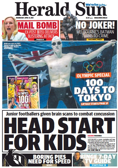 Front page of Herald Sun newspaper from Australia