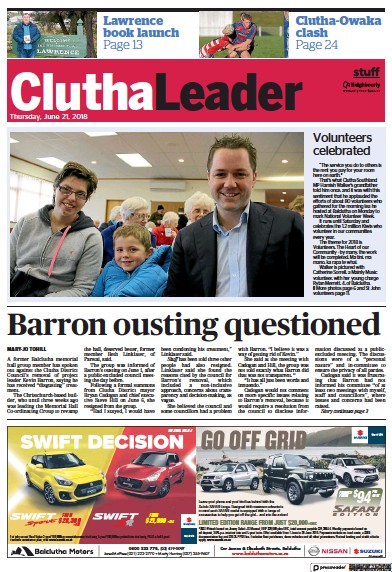Front page of Clutha Leader newspaper from New Zealand