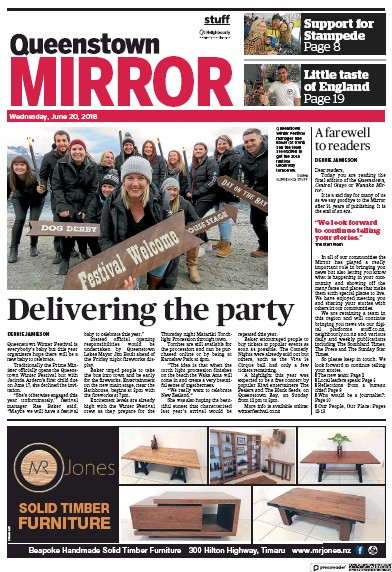 Front page of Central Otago Mirror newspaper from New Zealand