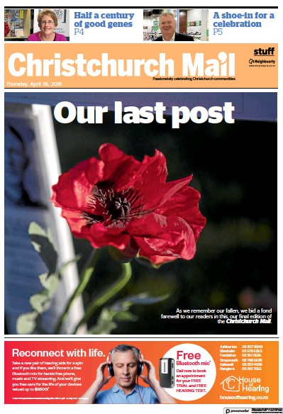 Front page of Christchurch Mail newspaper from New Zealand
