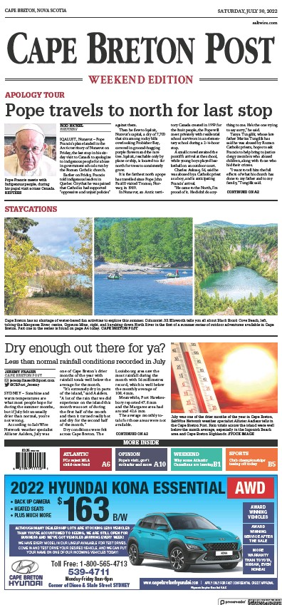 Front page of Cape Breton Post newspaper from Canada