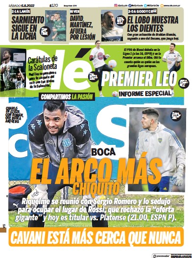 Front page of Ole newspaper from Argentina