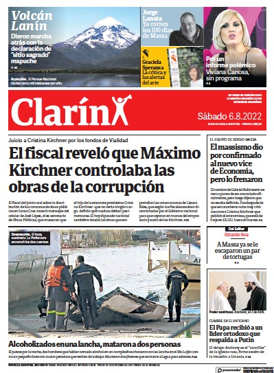 Front page of Clarin newspaper from Argentina