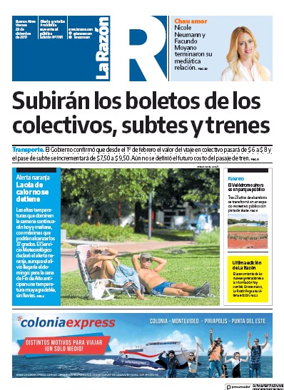 Front page of La Razon newspaper from Argentina