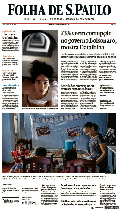 Front page of Folha De S.Paulo newspaper from Brazil
