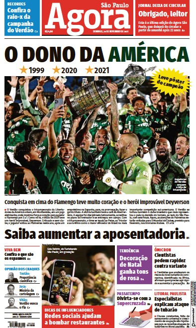 Front page of Agora newspaper from Brazil