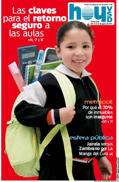 Front page of Hoy newspaper from Ecuador
