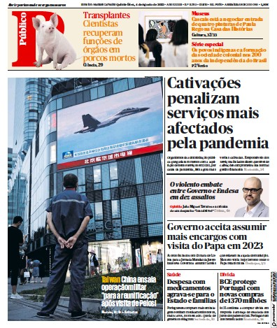 Front page of Publico Porto Edition newspaper from Portugal
