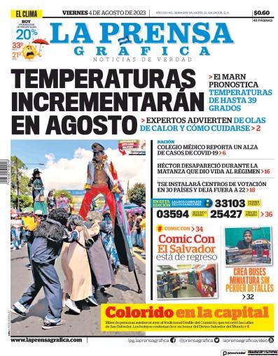 Front page of La Prensa Grafica newspaper from El Salvador