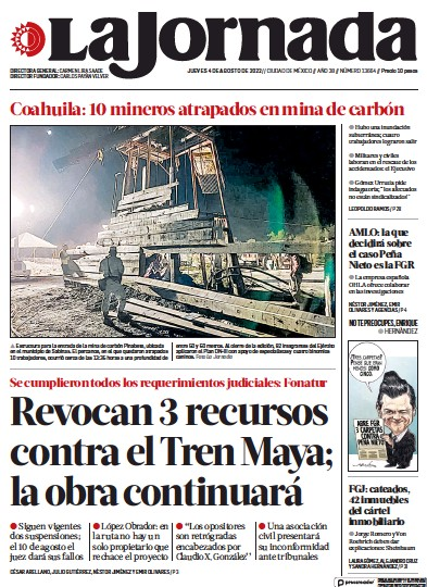 Front page of La Jornada newspaper from Mexico
