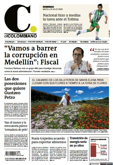 Front page of El Colombiano newspaper from Colombia