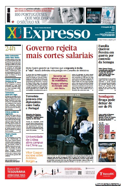 Front page of Expresso newspaper from Portugal