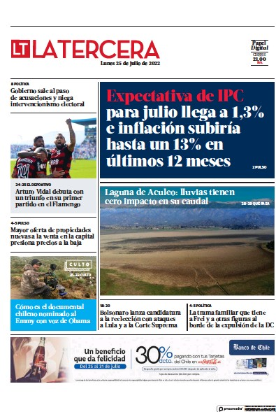 Front page of La Tercera newspaper from Chile