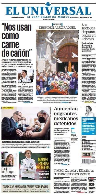 Front page of El Universal newspaper from Mexico