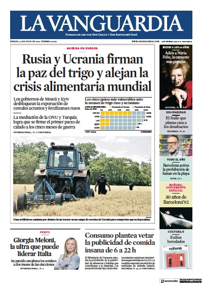 Front page of La Vanguardia newspaper from Spain