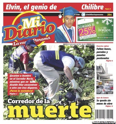 Front page of Mi Diario newspaper from Panama
