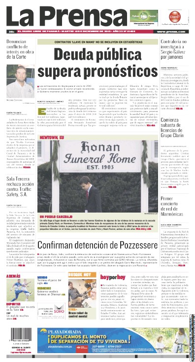 Front page of La Prensa newspaper from Panama