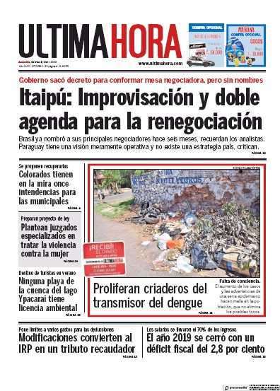 Front page of Ultima Hora newspaper from Paraguay
