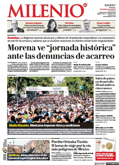 Front page of Milenio newspaper from Mexico