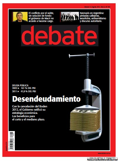Front page of Debate newspaper from Argentina