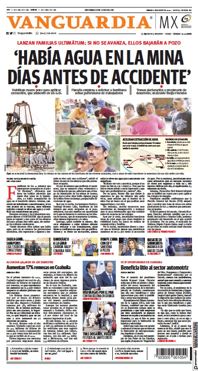 Front page of Vanguardia newspaper from Mexico