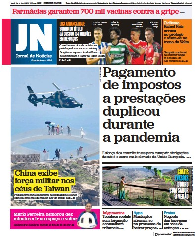 Front page of Jornal de Noticias newspaper from Portugal
