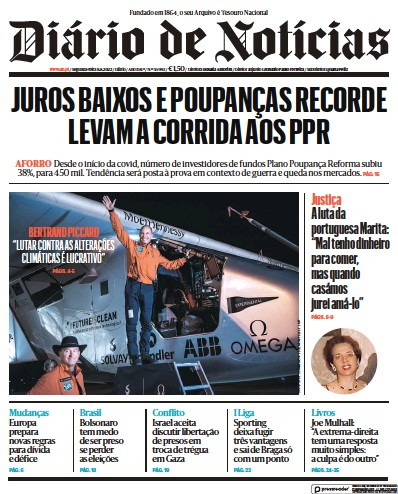 Front page of Diario de Noticias newspaper from Portugal