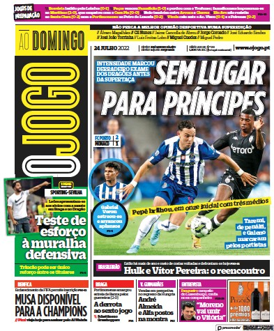 Front page of O Jogo newspaper from Portugal