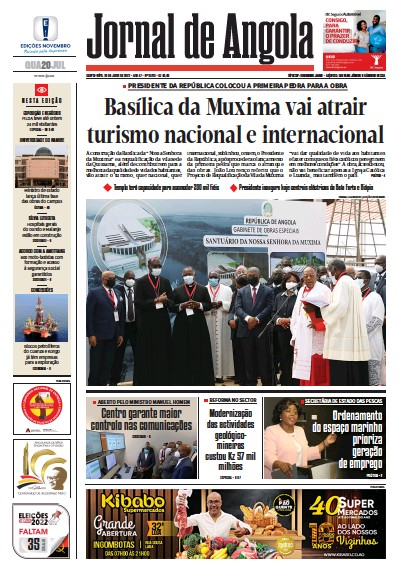 Front page of Jornal de Angola newspaper from Angola