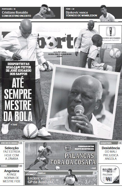 Front page of Jornal dos Desportos newspaper from Angola