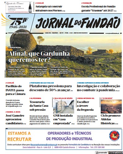 Front page of Jornal do Fundao newspaper from Portugal