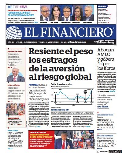 Front page of El Financiero newspaper from Mexico