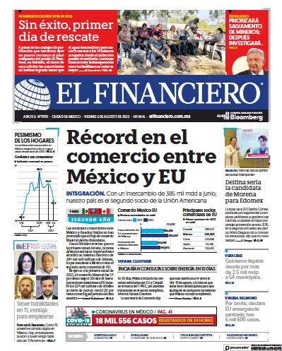 Front page of El Financiero newspaper from Mexico