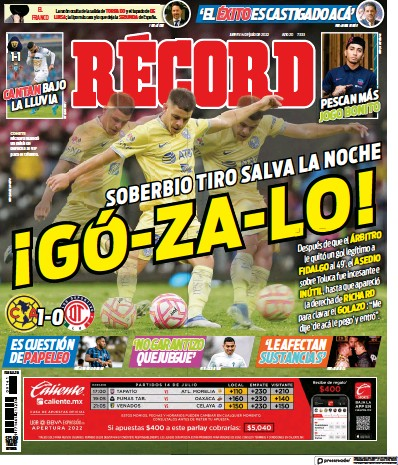 Front page of Record (Mexico) newspaper from Mexico