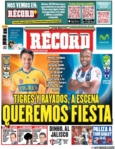 Front page of Record Monterrey newspaper from Mexico
