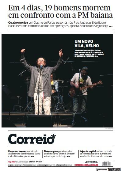 Front page of Correio da Bahia newspaper from Brazil