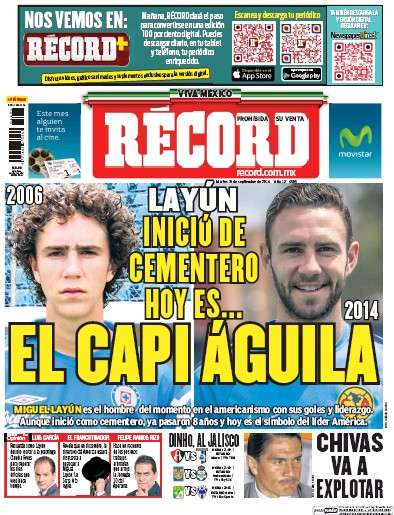 Front page of Record Guadalajara newspaper from Mexico