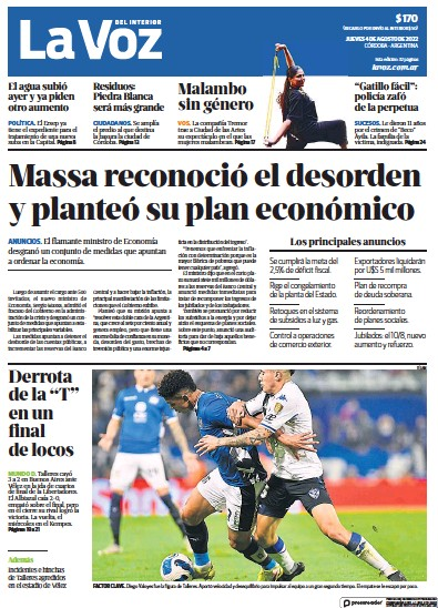 Front page of La Voz del Interior newspaper from Argentina