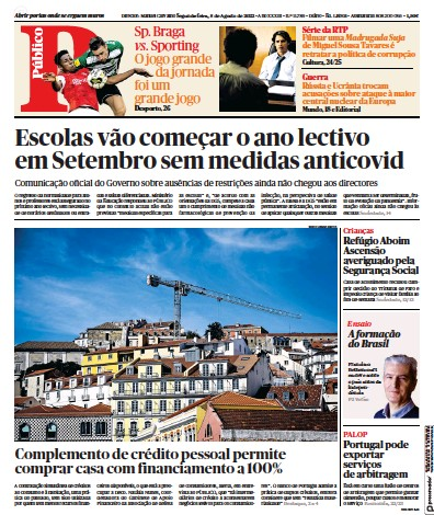 Front page of Publico Lisbon Edition newspaper from Portugal